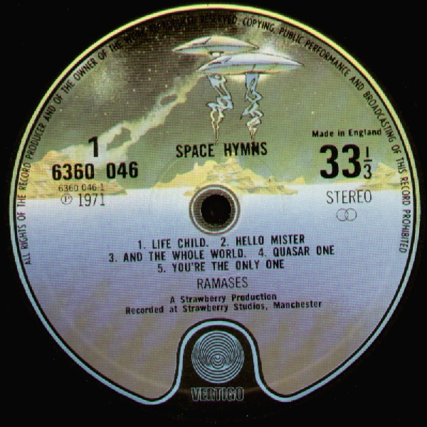 Space Hymns Label Side 1